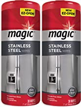 Magic Stainless Steel Wipes (2 Pack) Removes Fingerprints, Residue, Water Marks and Grease from Appliances - Works Great o...