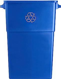 "Genuine Joe GJO57258 Recycling Rectangular Container, 28 Gallon Capacity, 22-1/2"" Width x 30"" Height x 11"" Depth, Blue"