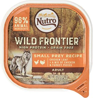 DISCONTINUED: NUTRO Wild Frontier Small Prey Recipe Chicken Loaf With a Mix of Chicken and Turkey Pieces Dog Food Trays 3.5 Ounces (Pack of 24)