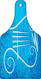 Lunarable Lyre Cutting Board, Greek Musical Instrument with 4 Strings on Blue Grunge Background, Decorative Tempered Glass Cutting and Serving Board, Wine Bottle Shape, Blue Pale Blue