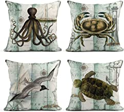 Tarolo Set of 4 Linen Throw Pillow Cover Case Antique Portugal Ocean Octopus Crab Sea Turtle Seabirds Decorative Pillow Cases Covers Home Decor Square 20 x 20 Inches Pillowcases