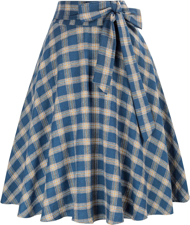 1940s Teenage Fashion: Girls Belle Poque Women Plaid Skirt with Pockets and Belt Vintage High Waist Skirt  AT vintagedancer.com