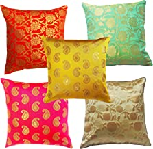 PINK PARROT Polyester Jacquerd Cushion Cover(30x30cm, Multicolour) - Set Of 5