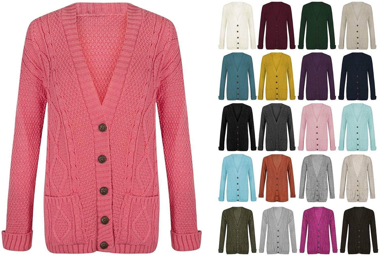 Women Ladies Long Sleeve Button Top Chunky Aran Cable Knitted Grandad Cardigan(UK M/L (12-14) Cream)