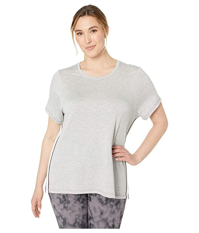 SHAPE Activewear Plus Size Track Star Tee (Heather Grey) Women