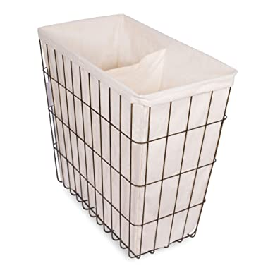 BIRDROCK HOME Wire Double Laundry Hamper with Liner - Modern Age - Removable Liner - Easily Transport Laundry - Decorative - Rustic Metal Frame - 2 Compartments