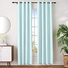 "AmazonBasics Room-Darkening Blackout Curtain Set with Grommets - 42"" x 96"", Seafoam Green"