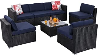 PHI VILLA 7-Piece Patio Furniture Set Rattan Outdoor Sectional Sofa with Seat Cushions, Blue