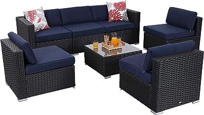 Amazon.com: Outsunny 7 Piece Wicker Sofa Sectional ...