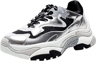 ASH Women's Metallic Leather Addict Trainers Silver