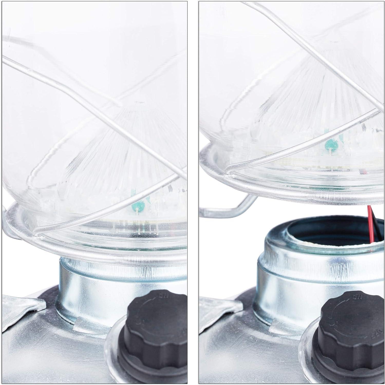 batteriebetrieben Relaxdays 1 x Sturmlaterne LED Retro Sturmlampe als Fensterdeko oder elektrische Gartenlaterne Silber