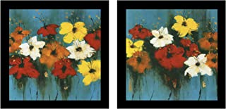 Painting Mantra Floral Theme Framed Printed Set of 2 Wall Art Print -12 X 12 Inchs