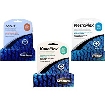 Seachem 3 Piece Treatment Kit, 1-Focus, 1-Metroplex, and 1-Kanaplex (5 Grams Each)