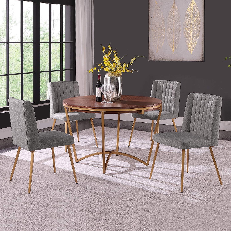 Buy Morden Fort Round Dining Table Set for 9 Velvet Upholstered ...
