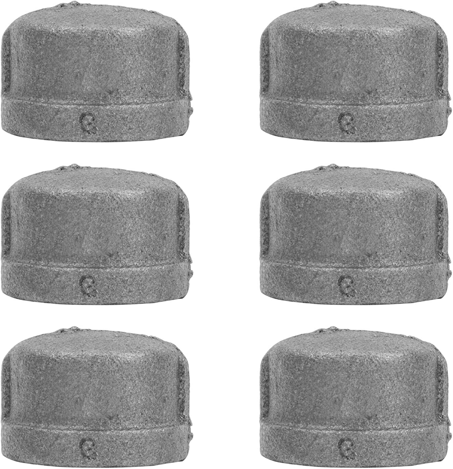 PIPE DÉCOR 1 in. Black Malleable Iron Cap, 6 Pack, for DIY Pipe Furniture Building and Regular Plumbing Applications