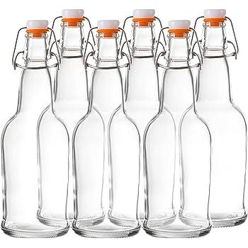 Bellemain Swing Top Grolsch Glass Bottles 16oz - CLEAR - For Brewing Kombucha Kefir Beer (6 Set)