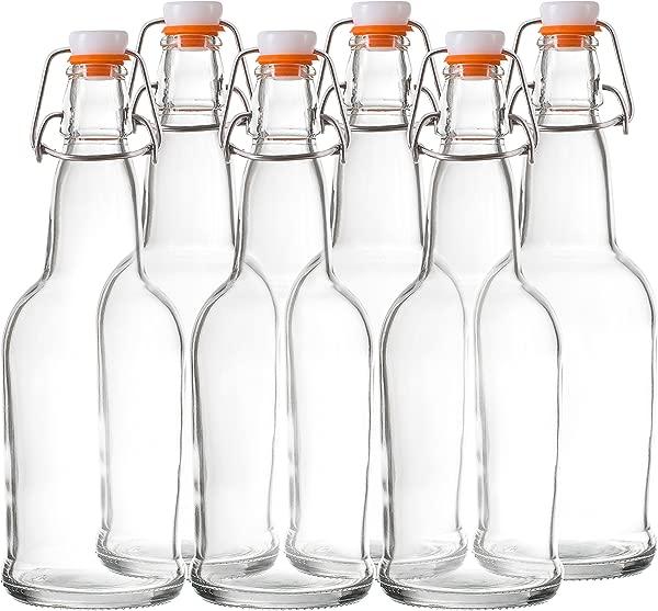 Bellemain Swing Top Grolsch Glass Bottles 16oz CLEAR For Brewing Kombucha Kefir Beer 6 Set
