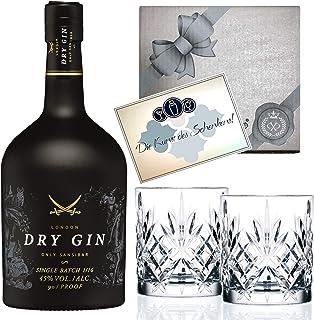 Gin Geschenk-Set Sansibar Luxus-DryGin inkl. 2 Tumbler Gläsern. Das Geschenk für Liebhaber Luxusgeschenk für Männer