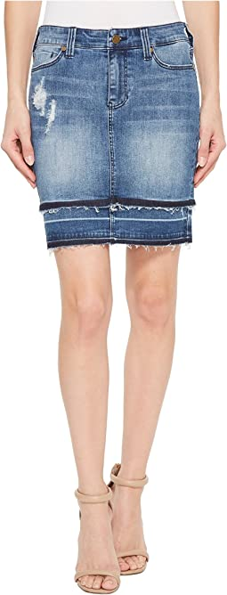 Double Hem Skirt in Vintage Super Comfort Stretch Denim in Fairhaven