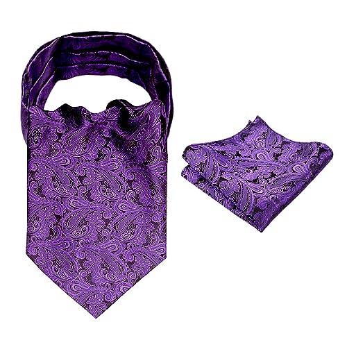 DQT Solid Check Cadbury Purple Wedding Pre-Tied Mens Cravat /& Hanky Set