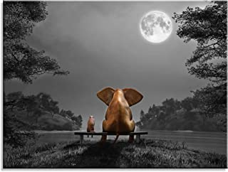 qingyiwall art om Animal Resting Elephant Look at The Moon Tree Wall Pictures Giclee Wall Decor on Canvas Stretched Artwork Living Room Bedroom Ready to Hang