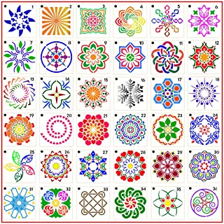 5.5x5 Inch Charts Border Stencils UCEC 13PCS Plastic planner Stencils Scrapbook Shapes for Notebook Decorative Stencil Template Diary Number Stencils Leaf Stencil Icons