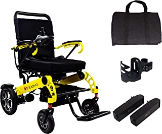 Innuovo Top-Rated Foldable Electric Power Wheelchair, Adjustable Speed, Ideal for Outdoors or Indoors, Wide Seat, Fits Any car Trunk, Safe for Air Travel, Cover Bag Included, Model W5521 Yellow