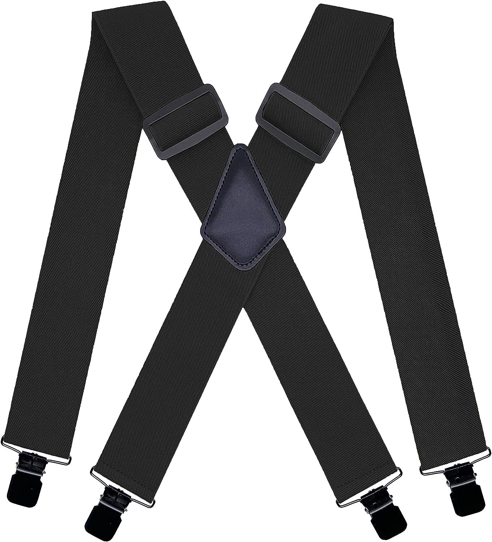 KRICJYH Suspenders for Men Heavy Duty Clips 2 Inch Wide Adjustable X Back Braces