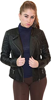 ff699a8c9cc Olivia Miller Womens Faux Leather Moto Biker Jacket with Pockets