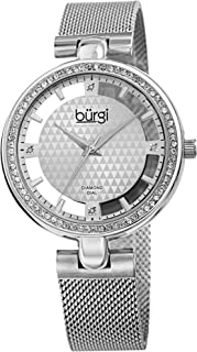 Sparkling Colored Crystals Women's Watch - Floating Dial On Shimmering Triangle Pattern 4 Genuine Diamond Markers On Stainless Steel Mesh Band -BUR262