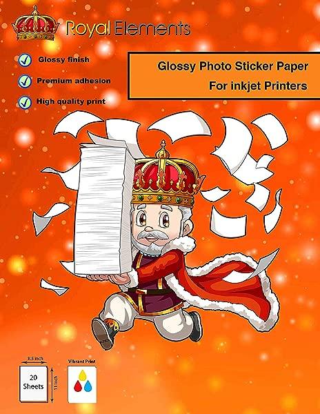Royal Elements Glossy White Photo Sticker Paper 20 Premium Sheets For Inkjet Printers