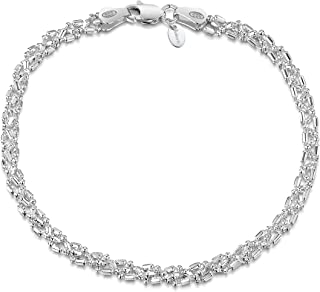 "Amberta 925 Sterling Silver Fine Chain Bracelet Length 8"" inch/20 cm"