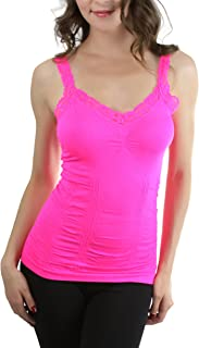 ToBeInStyle Women's Wrinkled Camisole with Lace Trim Straps