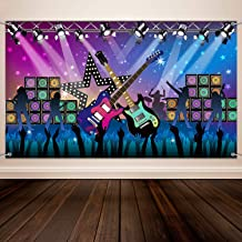 Karaoke Party Decorations Supplies, Large Fabric Rock Star Vacation Party Backdrop Banner for Rock N Roll Party Decorations, Rock Star Banner Background, 72.8 x 43.3 Inch