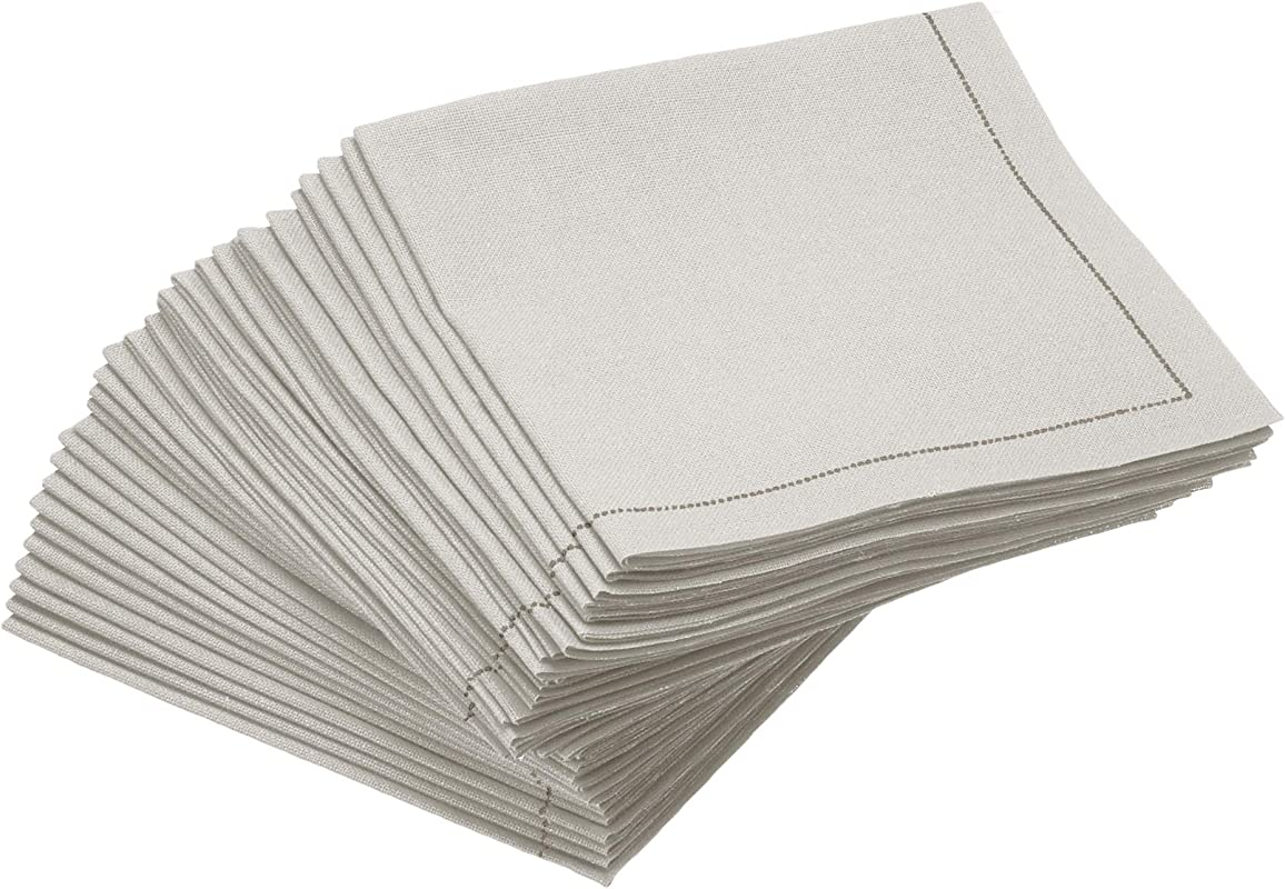 Signature Napkins FC20 101 1 4 Fold 100 Cotton Cocktail Napkins 30 Pack White