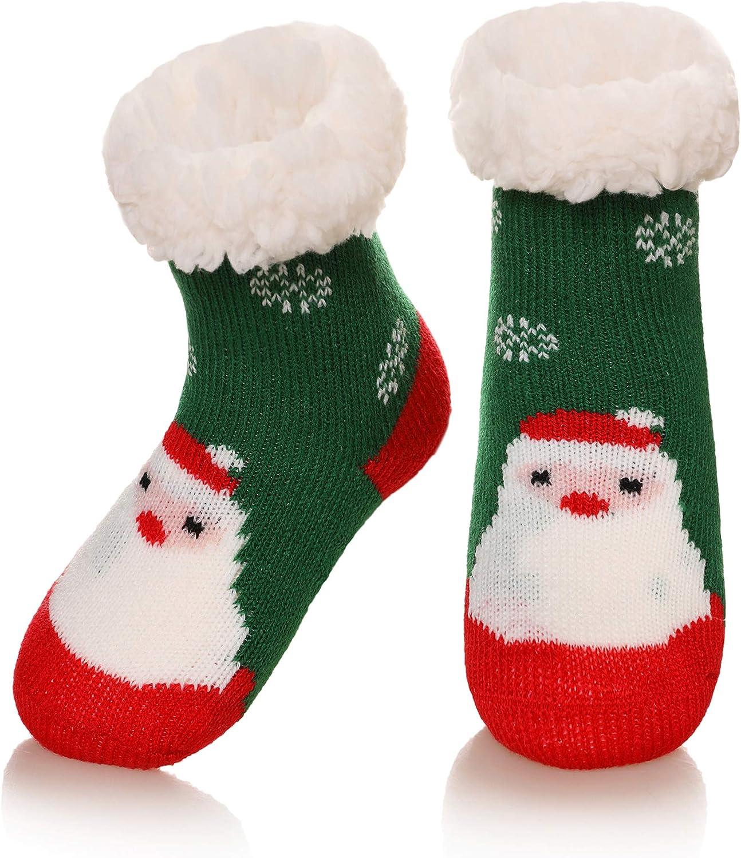 Baby Girls Boys Slipper Socks Soft Warm Fleece Lined Cozy Winter Toddler Kids Child Christmas Home Socks with Grippers