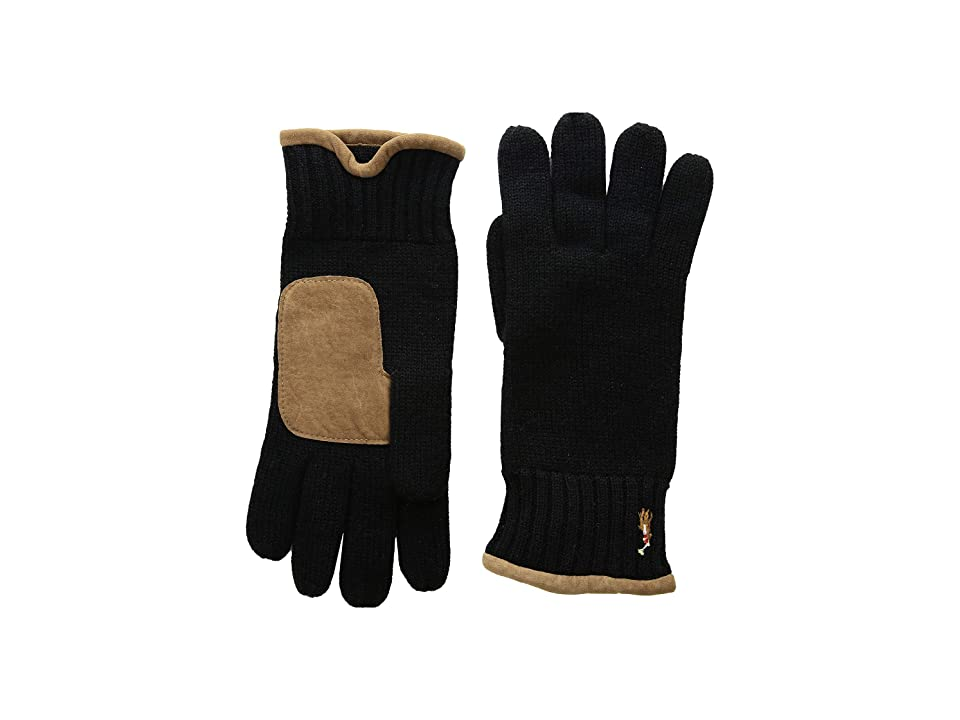 Polo Ralph Lauren Classic Lux Merino Gloves with Leather Palm (Polo Black) Wool Gloves