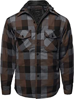 Style by William SBW Men's Flannel Woven Long Sleeves Detachable Hood Button Down Shirt