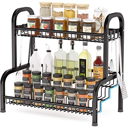 Spice Rack Organizer, Step Shelf Organizer, 2 Tier Countertop Organizer with 8 Hooks for Pantry, Kitchen, Cabinet