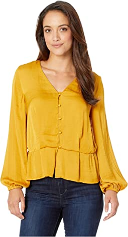 Petite Long Sleeve Peplum Hem Button Down Blouse