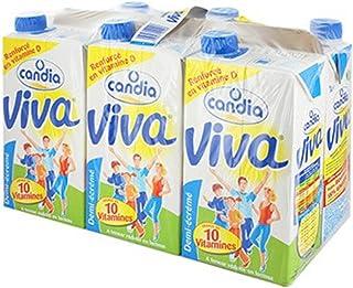 Candia Viva Lait Vitaminé U.H.T demi-écrémé 1L - Pack de 6 bouteilles