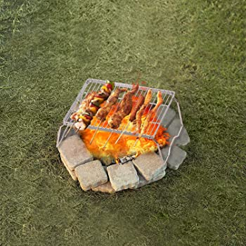 REDCAMP Folding Campfire Grill 304 Stainless Steel Grate, Heavy Duty Portable Camping Grill with Legs Carrying Bag, M...