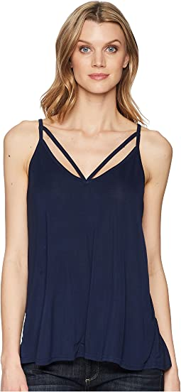 1578 Rayon Knit V-Neck Strappy Tank Top