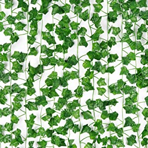 Martine Mall 12 Pcs 84Ft Artificial Ivy Leaf Plants Fake Ivy Leaves Garland Greenery Garland Hanging Plants Fake Vines for Room Kitchen Garden Office Wedding Wall Decor