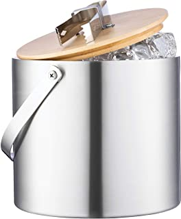 Double-Wall Stainless Steel Insulated Ice Bucket With Lid and Ice Tong - [3 Liter] Modern Bamboo Lid With Built In Tong- C...