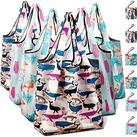Folding Grocery Tote Bags Premium Waterproof Material Foldable Grocery Bags for Everyday Shopping for Daily Use Hold 55 lbs Reusable Shopping Bags
