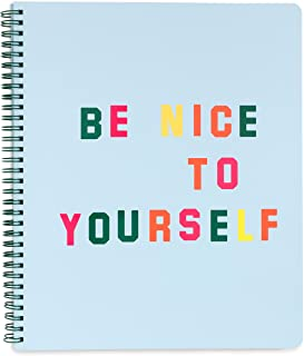 """ban.do Blue Rough Draft Large Spiral Notebook, 11"""" x 9"""" with Pockets and 160 College Ruled Pages, Be Nice to Yourself"""