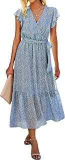 BTFBM Women Summer Bohemian Floral Casual Wrap V Neck Ruffle Cap Sleeveless Belt A-Line Pleated Hem Swing Midi Sun Dress