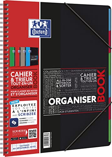 Oxford OrganiserBook Cahier Spirale + Trieur Format A4+ 160 pages Grands Carreaux Seyès Couverture Polypro Couleur Al...