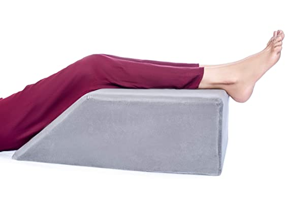 FOVERA Leg Elevation Pillow - Relieves Leg, Hip & Knee Pain, Ideal for Post-Surgery (Grey)